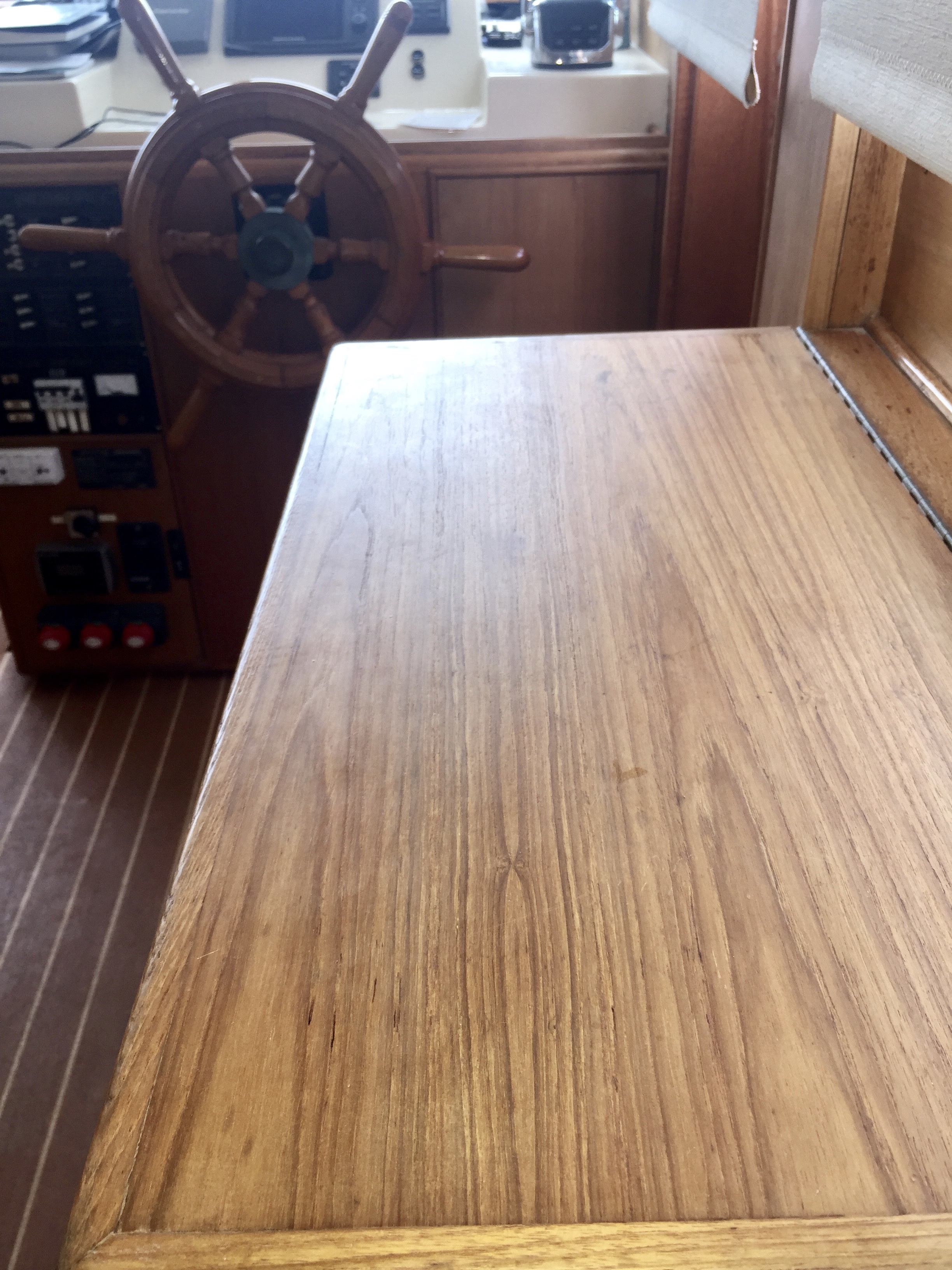 Interior wood after sanding and coat of wood stain